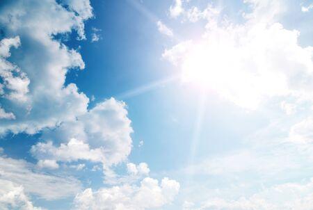 Heaven sky with sun photo