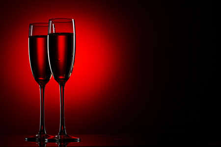 2 objects: Pair of champagne flutes Stock Photo