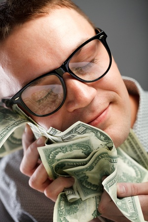 rich: Happy man with money