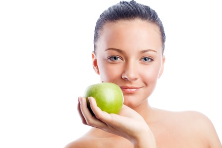 Woman with green apple Stock Photo - 9754284