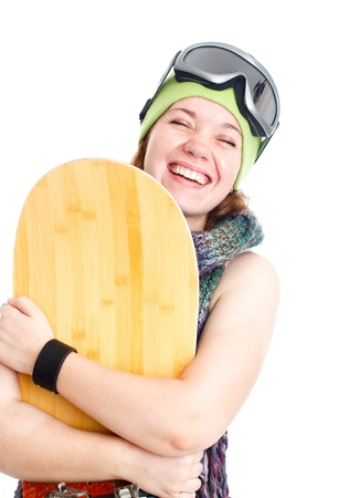 Woman with snowboard. Isolated over white. photo