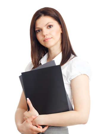 Beautiful businesswoman with folders in hands. Isolated over white. photo