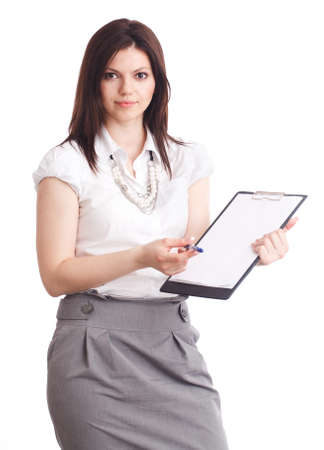 young businesswoman showing contract. Isolated over white. photo