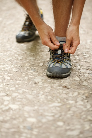 tying: Closeup of tying sports shoes