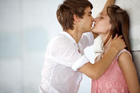 romantic kiss: Kissing couple Stock Photo