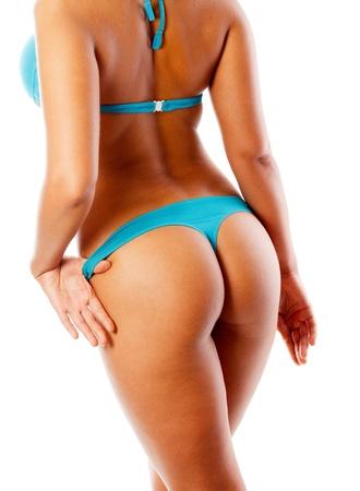 female buttocks: Blue  bikini