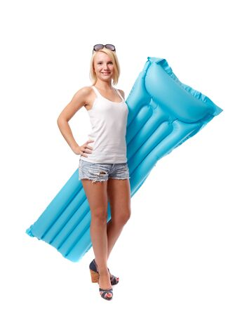 Woman and airbed Stock Photo - 10411193