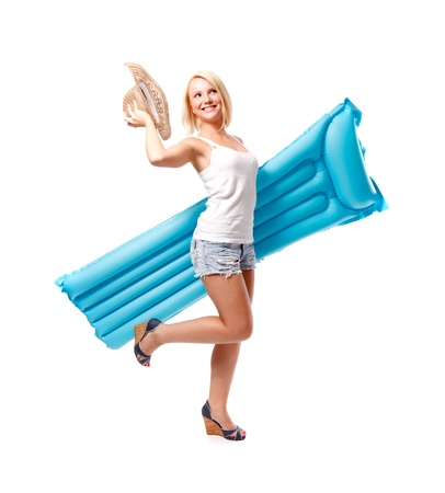 Woman and airbed photo