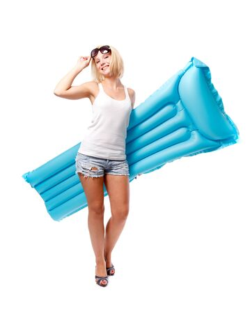 Woman and airbed Stock Photo - 10411190
