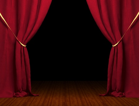 theaters: 3d red curtain Stock Photo