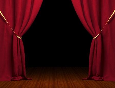 rideau de theatre: Rideau rouge 3D Banque d'images