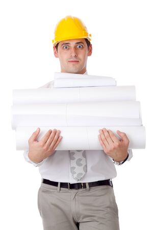 Young man with blueprints. Isolated over white. photo