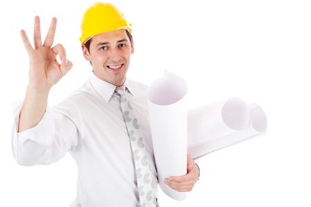 arquitecto: Ingeniero mostrando signo ok