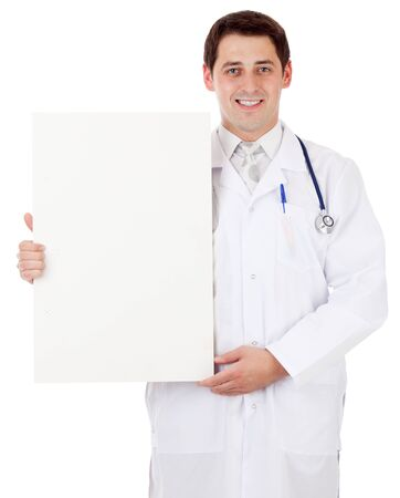 Doctor with placard photo