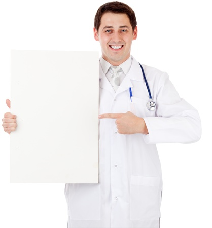 Doctor with placard Stock Photo - 10585842