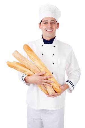 Baker. Isolated over white. Foto de archivo