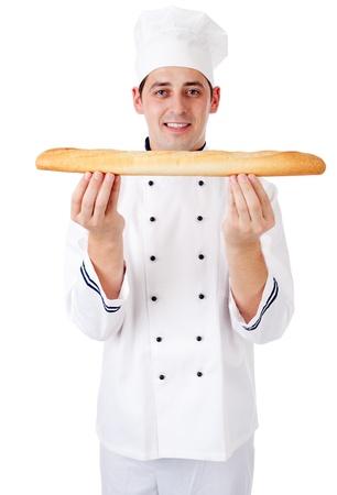panadero: Baker. Aislado en blanco. Foto de archivo