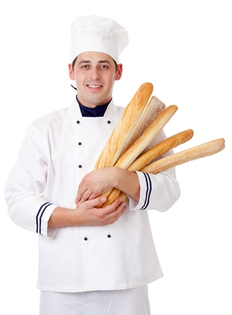 Baker. Isolated over white. Stock Photo