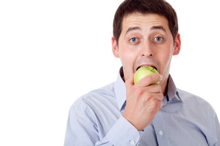 Man with green apple. photo
