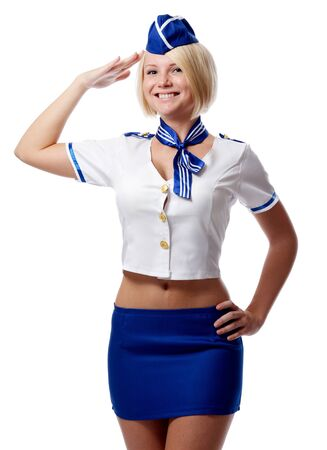 Portrait of beautiful stewardess photo