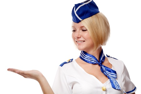 air hostess: Portrait of beautiful stewardess