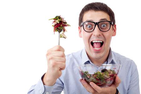 Man and salad photo