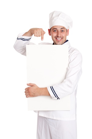 Male chef with menu. isolated over white background photo