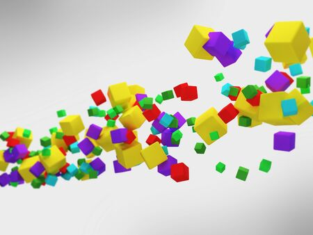 Colorful 3d abstract cubes. shallow dof photo