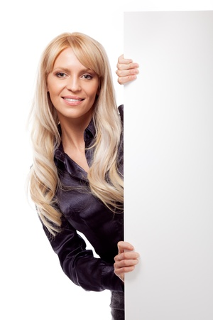 exhibiting: Woman with placard. Isolated over white. Stock Photo