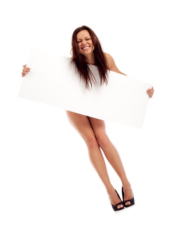 sexy business woman: Sexy brunette with placard. Isolated over white.