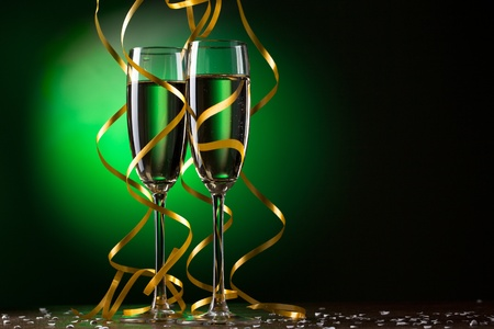 holiday dinner: Pair glass of champagne Stock Photo