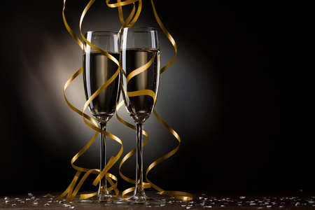 new year eve confetti: Pair glass of champagne Stock Photo
