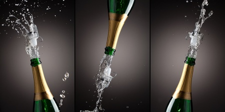 Openning champagne bottle. 3 different splashes