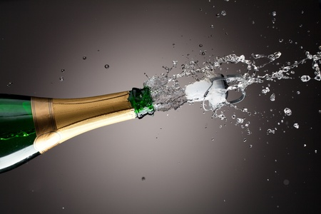 christmas champagne: Openning champagne bottle Stock Photo