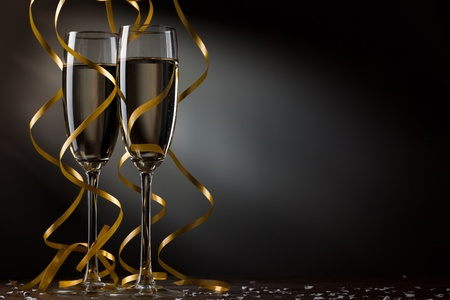 wine glass christmas: Pair glass of champagne Stock Photo
