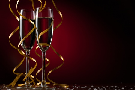 new love: Pair glass of champagne Stock Photo