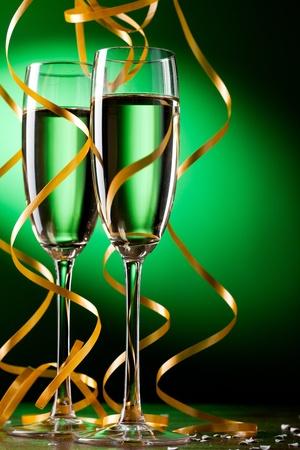 aniversario: Par copa de champ�n Foto de archivo