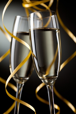 celebration champagne: Closeup of pair glass with champagne