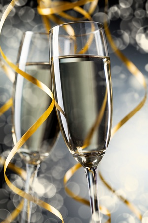 celebrate life: Closeup of pair glass with champagne