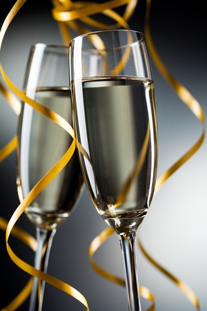Closeup of pair glass with champagne photo