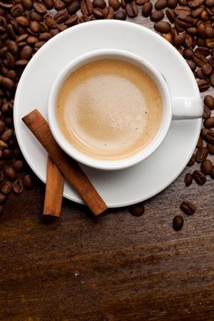 Cup of coffee with cinnamon Standard-Bild