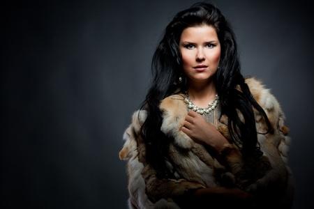 Portrait of stylish woman in fur photo