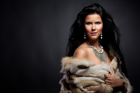Portrait of stylish woman in fur photo