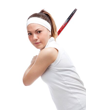 Woman with tennis racquet. Isolated over white. Stock Photo - 12526922