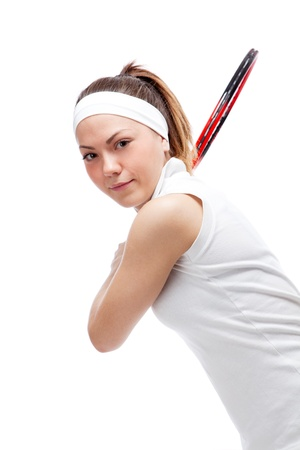 Woman with tennis racquet. Isolated over white. Stock Photo - 12526912