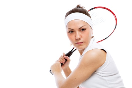 Woman with tennis racquet. Isolated over white. photo