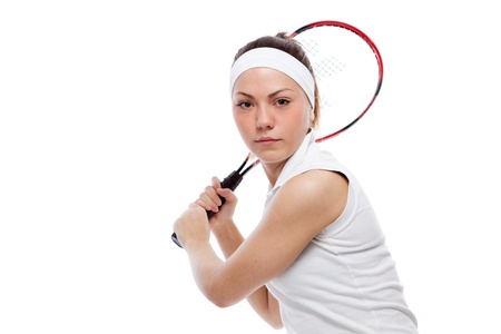 Woman with tennis racquet. Isolated over white. Stock Photo - 12526468