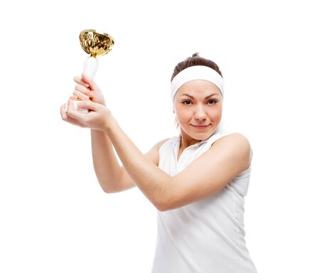 Woman with tennis racquet. Isolated over white. Stock Photo - 12525846