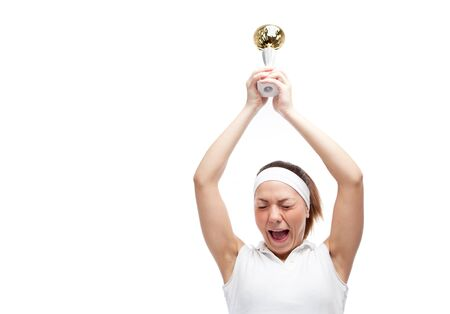 Woman with tennis racquet. Isolated over white. Stock Photo - 12525841