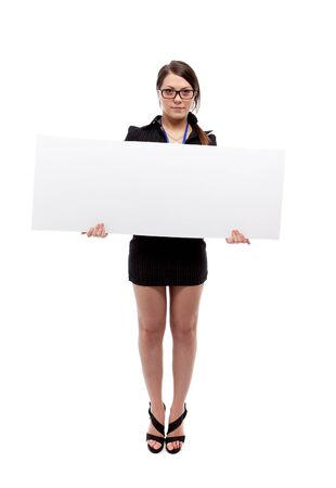 Woman with banner. Isolated over white. photo